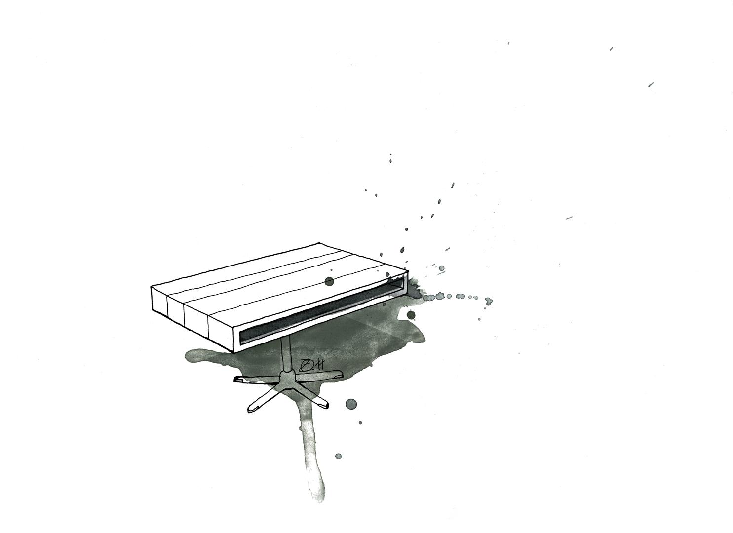 Couchtisch mit storage auf verstellbarem Fuß. Anfertigungen nach Maß. Danish Architect German Designer Maker Duo in Berlin. Design and furniture design illustration by Studio KERTI