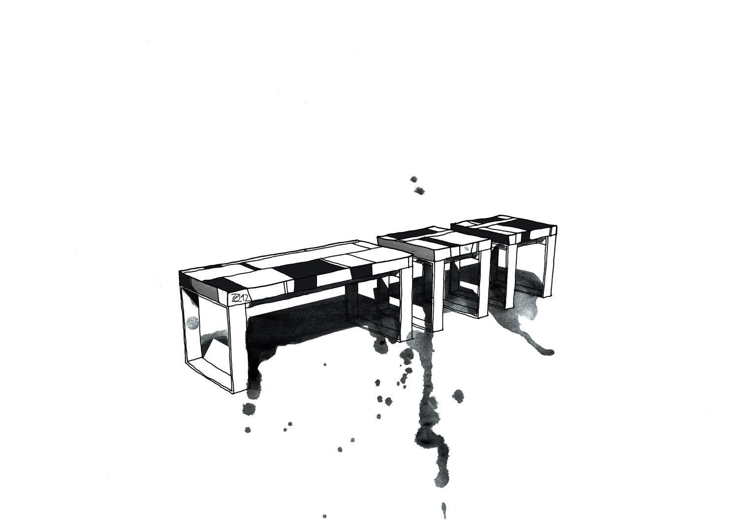 Architektin und Furniture Designer Maker in Berlin. Designer Möbel angefertigt nach Maß. Design Katalog KERTI one-off Sitzbänke aus Restholz-Stückwerk. Gestell aus Industriestahl. Patchwork Benches made from reclaimed wood on industrial steel base. Design and furniture design illustration by Studio KERTI.