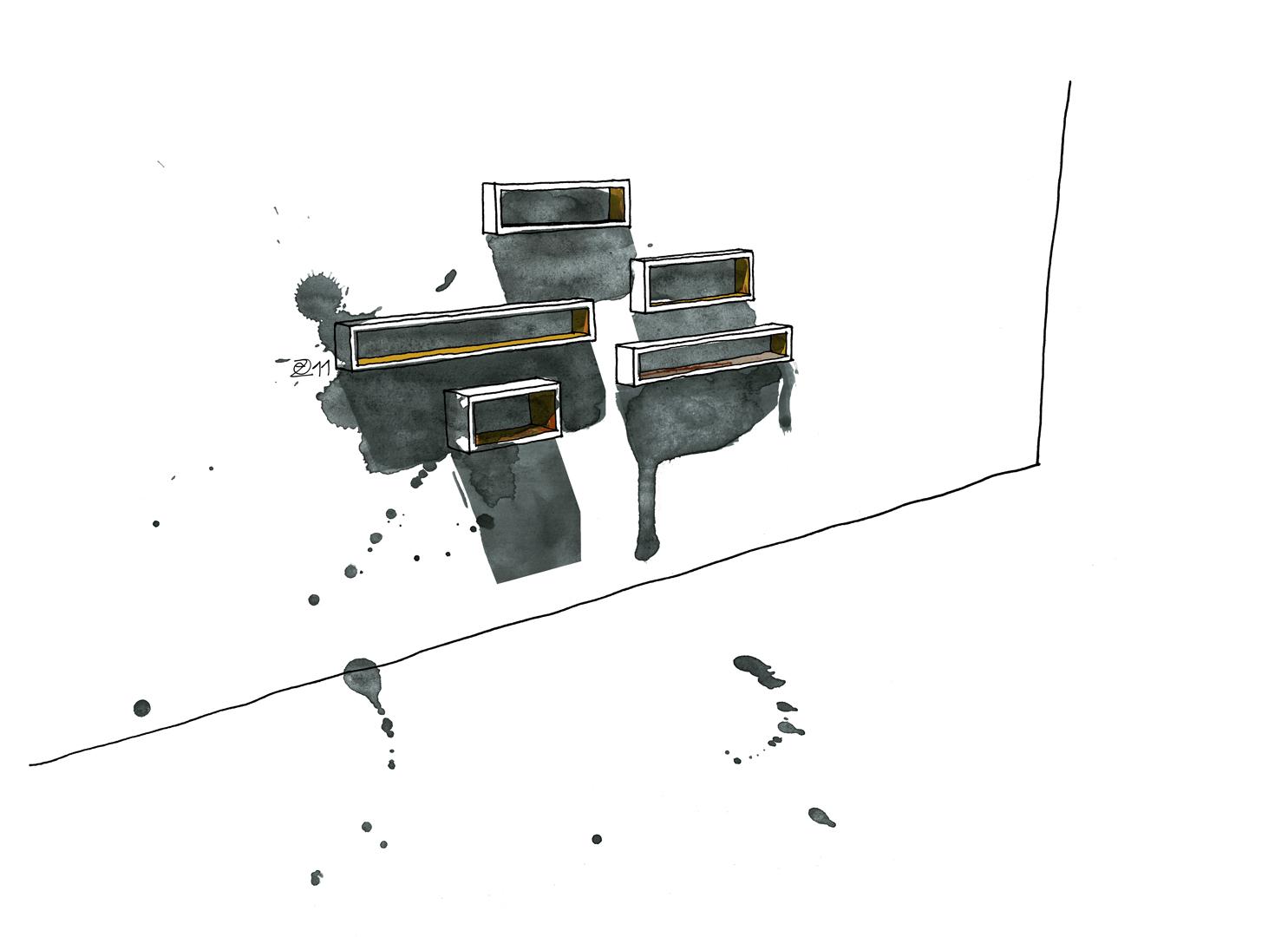 Designermöbel handgefertigt nach Maß in Berlin. KERTI Wall Mounted Shelves made from Berlin floorboards. Design and furniture design illustration by Studio KERTI. Architect and Designer Maker in Berlin.