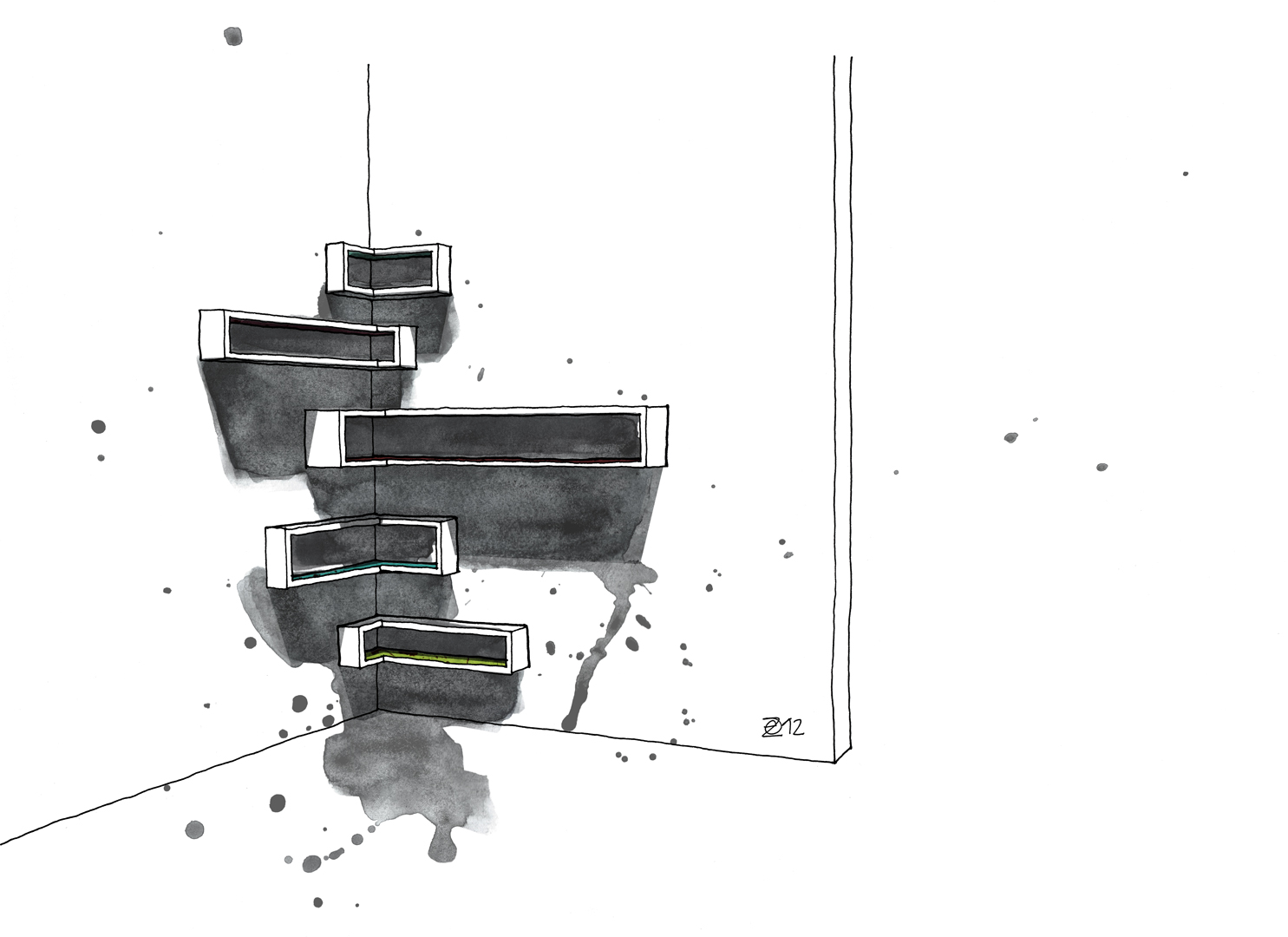 Handgefertigte Eckregale aus Berliner Holzdielen. Wall mounted corner shelves made from reclaimed floor boards. Design and furniture design illustration by Studio KERTI.