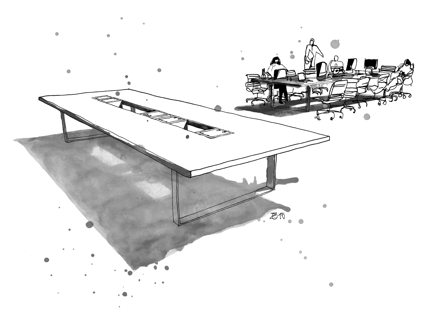Konferenztische Eiche für Großraumbüros aus eigener Designbüro und Tischlerei in Berlin. Gestell aus Industriestahl mit mobilen Kabelsammlern aus schwarzem MDF. Design und Möbel Illustration von Studio KERTI.