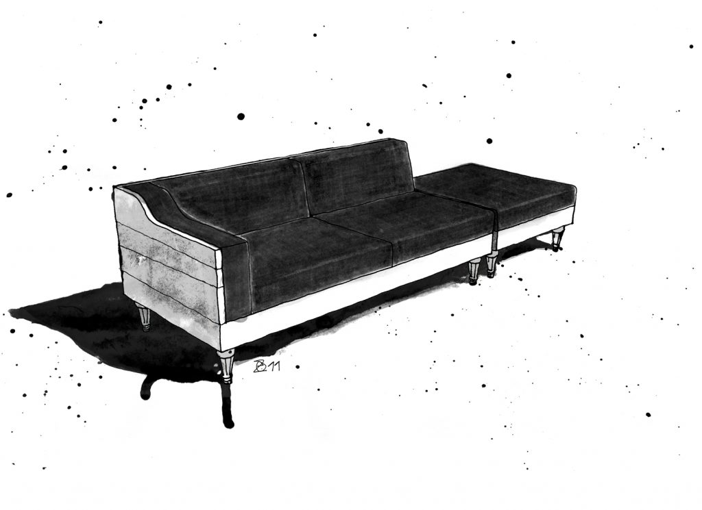 Sustainable Danish-German Furniture Design in Berlin. Handgefertigte Möbel Unikat Sofa aus Berliner Holzdielen, Bezug aus Fahrrad- und Traktorschlauch. The KERTI Sofa is created from reclaimed Berlin floor boards, upholstery from bike and tractor inner tubes. Design and furniture design illustration by Studio KERTI