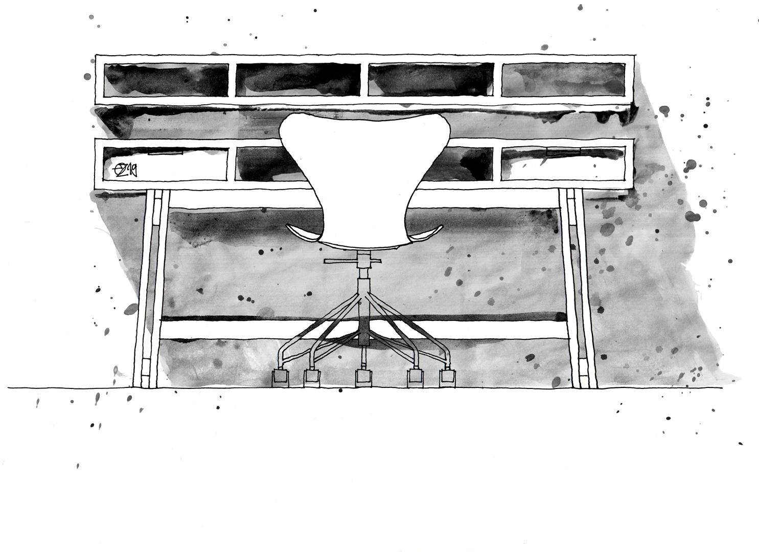 Homeoffice Berlin Schreibtisch mit Schubkästen und Wandregal. Work Desk with drawers on wooden frame and wall mounted shelf made from wooden boards. Design and furniture design illustration by Studio KERTI