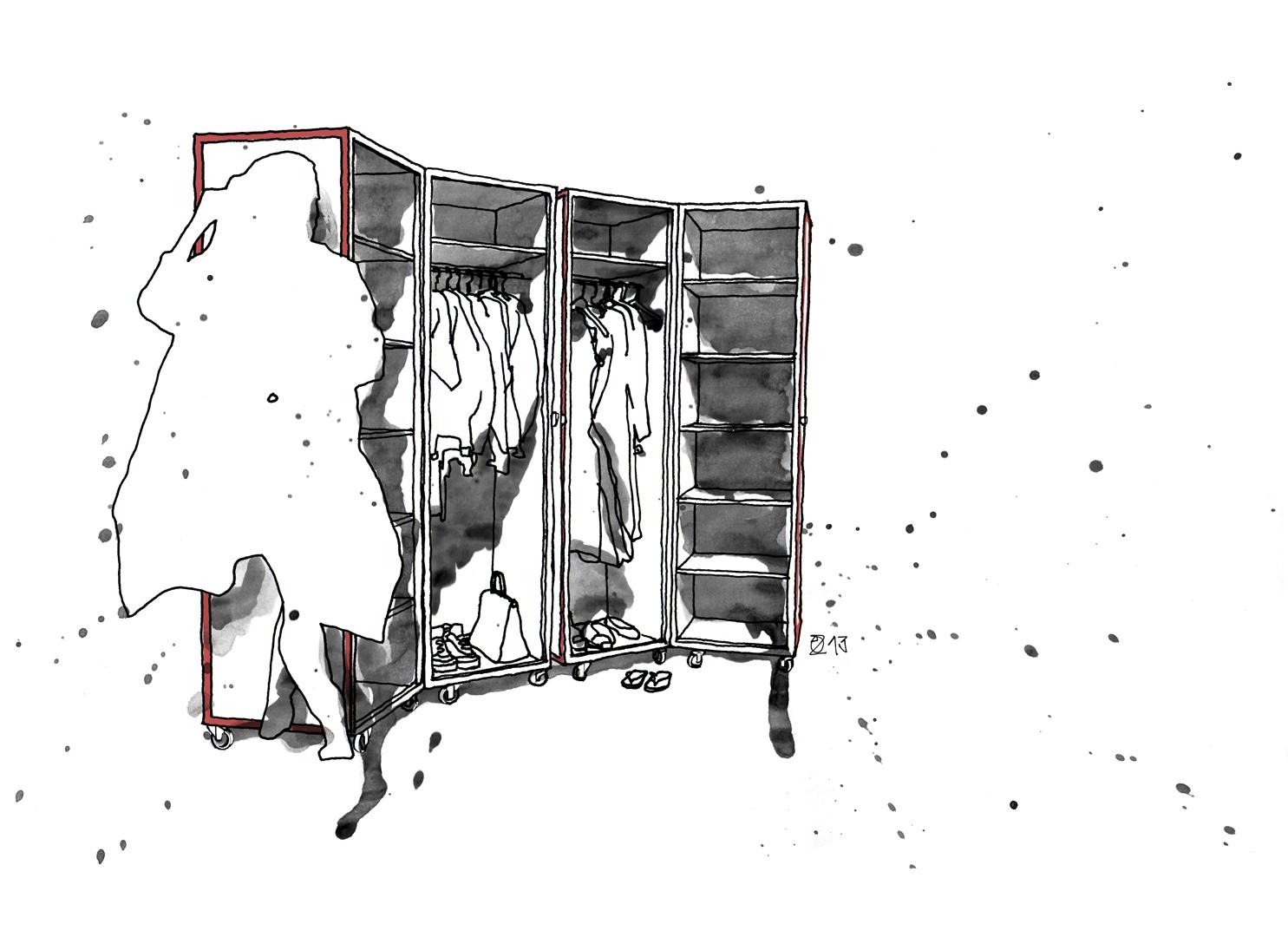 Aufbewahrungslösungen für Ordnung im Schlafzimmer. Handgefertigte Designermöbel aus Berlin. AWSM MNTN Wardrobe on wheels is made from veneered blockboard, front details from reclaimed Berlin Floorboards. Design and furniture design illustration by Studio KERTI