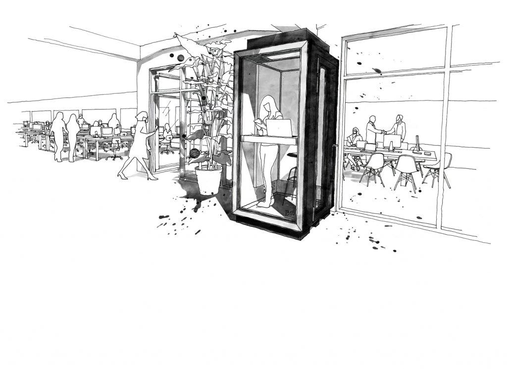 Coworking in an open-plan office environment. Acoustically engineered phone booth. Soundproof and ventilated. All interior features can be customised to individual needs. Telefonzelle Design und Illustration Studio KERTI