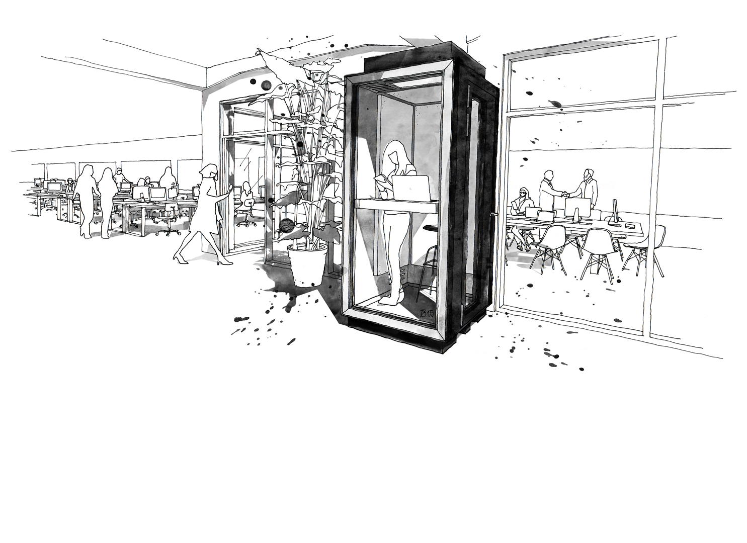 KERTI Phone booth for open-plan office environments and co-working spaces. An acoustically engineered system of soundproof glass and wall elements. All interior features can be customised to individual needs. Design and furniture design illustration by Studio KERTI