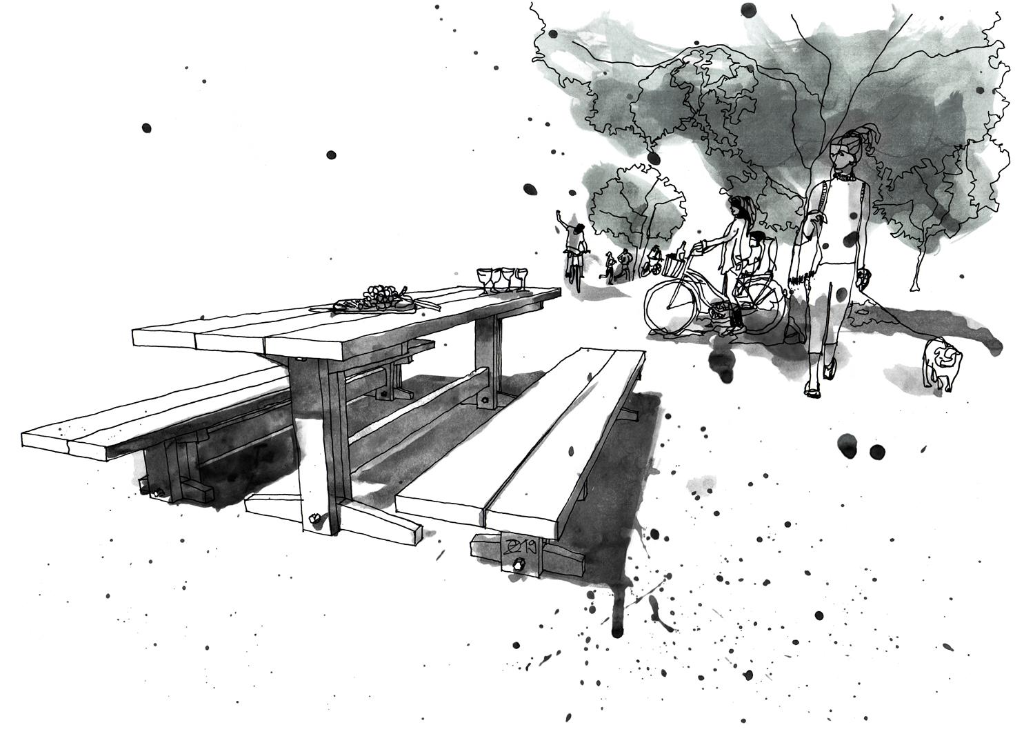Terrassenmöbel nach Maß. Gartenmöbel Picnic-Set mit Tisch und Bänke aus Massivholz. Design and furniture design illustration by Studio KERTI
