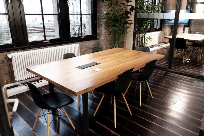 Open plan office industrial furniture interior design Studio KERTI Berlin